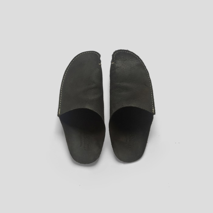 Black Leather Slipper by CP Slippers
