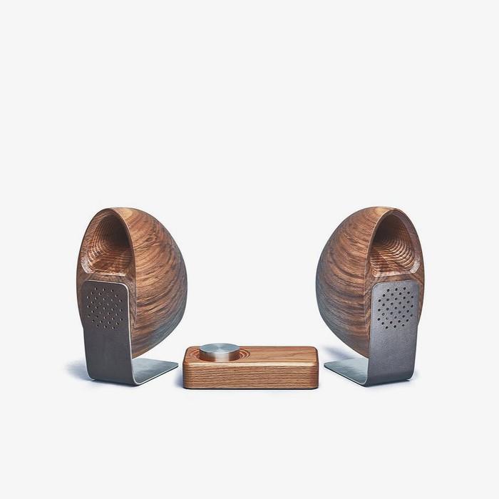 Walnut speakers by Grovemade